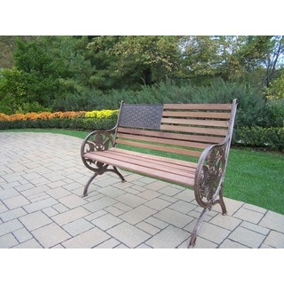 'Proud American' Wood and Cast Iron Bench