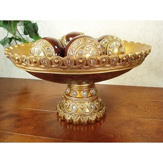 D'Lusso Designs Kashmir Collection Goldtone Polyresin Bowl and Four Orbs