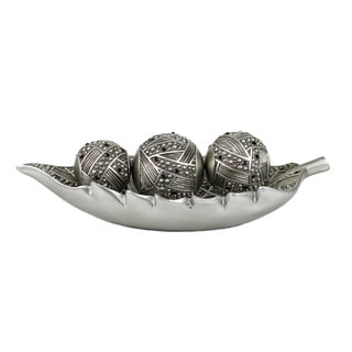 D'Lusso Designs Jaden Collection Leaf Tray with Three Orbs