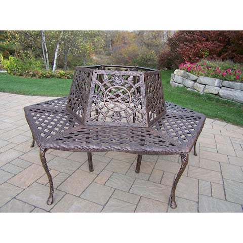 Oakland Living Corporation Tea Rose Cast Aluminum Tree Bench