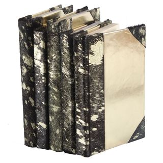 Metallic Hide Books - Black/Gold, S/5