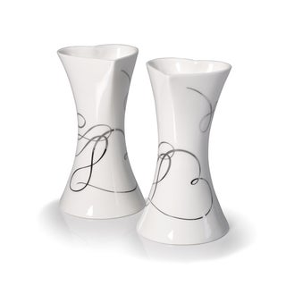 Mikasa Love Story Ceramic 6-inch Tall Candlesticks (Set of 2)