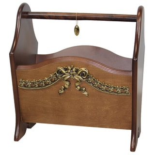 Uniquewise Walnut Wooden Magazine Holder with Gold Bow