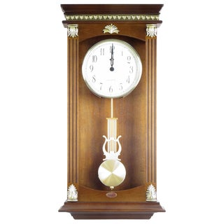 Traditional Gold/Walnut-finished Wood/Resin Wall Mounted Pendulum Clock