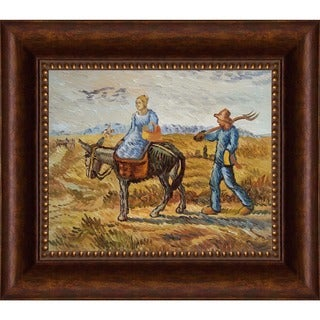 Vincent Van Gogh 'Peasant Couple Going To Work' Hand Painted Framed Canvas Art