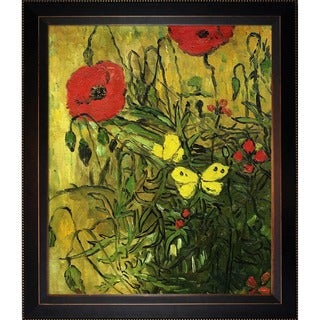 Vincent Van Gogh 'Poppies and Butterflies' Hand Painted Framed Canvas Art