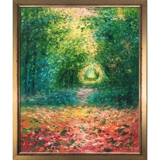 Claude Monet 'The Undergrowth in the Forest of Saint-Germain, 1882' Hand Painted Framed Canvas Art
