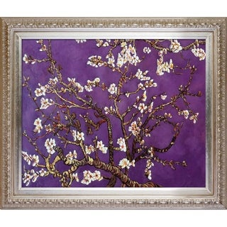 La Pastiche Original 'Branches of an Almond Tree in Blossom, Amethyst Purple' Hand Painted Framed Canvas Art