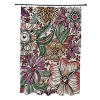 71 x 74-inch Zentangle Floral Floral Print Shower Curtain