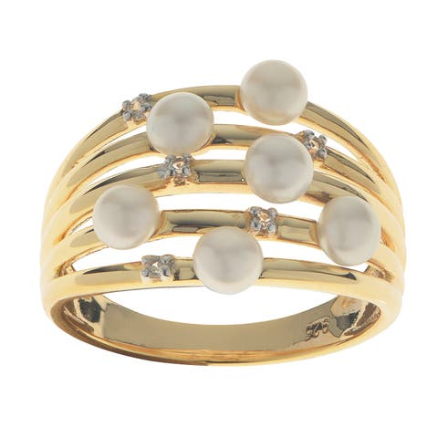Pearls For You Goldplated Sterling Silver Freshwater Pearl And Topaz Ring (3-4Mm)