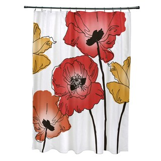 71 x 74-inch Poppies Floral Print Shower Curtain
