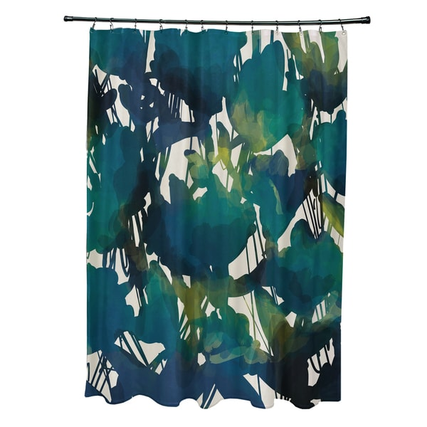 71 x 74-inch Abstract Floral Floral Print Shower Curtain