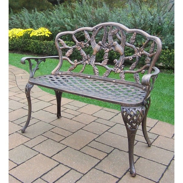 Excellent Shop Grace Cast Aluminum Loveseat Bench Free Shipping Andrewgaddart Wooden Chair Designs For Living Room Andrewgaddartcom