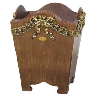 Uniquewise Wood Wastebasket / Trash Bin with Gold Bow