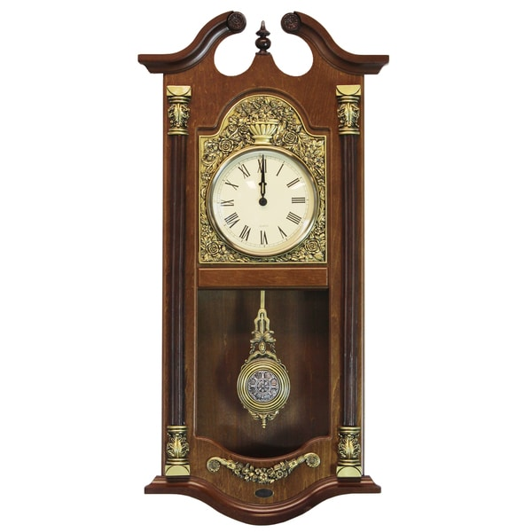 Large Traditional GoldBrown Solid Wood Pendulum Wall Clock Free