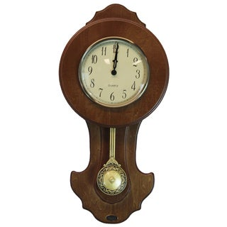 Walnut Finish Solid Wood Transitional Pendulum Wall Clock