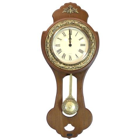 Classic Wood Wall Clock with Swinging Pendulum