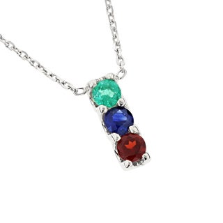 Luxurman 14K Gold 3 Stone Gemstone Necklace: Emerald Sapphire Garnet 0.6ct