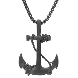 Black-plated Stainless Steel Anchor and Winding Rope Pendant Necklace