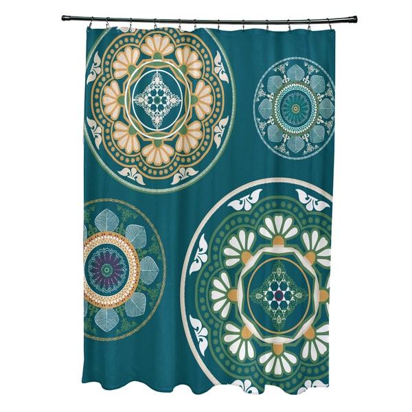 71 x 74-inch Medallions Geometric Print Shower Curtain