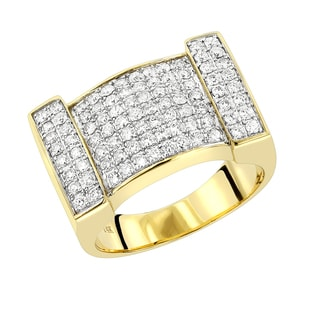 Luxurman 14k Gold Mens' 1 1/2ct TDW Diamond Ring (G-H, VS1-VS2)