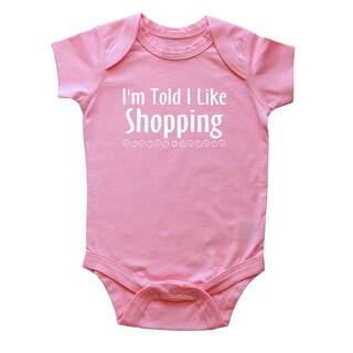 Rocket Bug 'I'm Told I Like Shopping' Cotton Baby Bodysuit