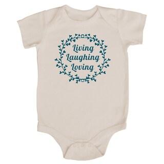 Rocket Bug 'Living, Laughing, Loving' Cotton Baby Bodysuit