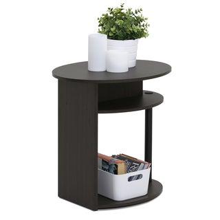 Furinno JAYA Simple Design Oval Walnut End Table