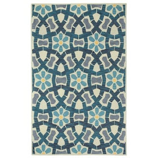 Stepping Stone Sand Blue Hand Tufted Rug (8' x 11')