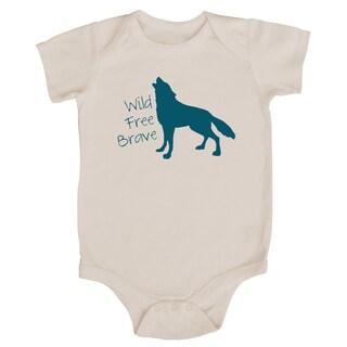Rocket Bug 'Wild, Free, Brave' Wolf Cotton Baby Bodysuit