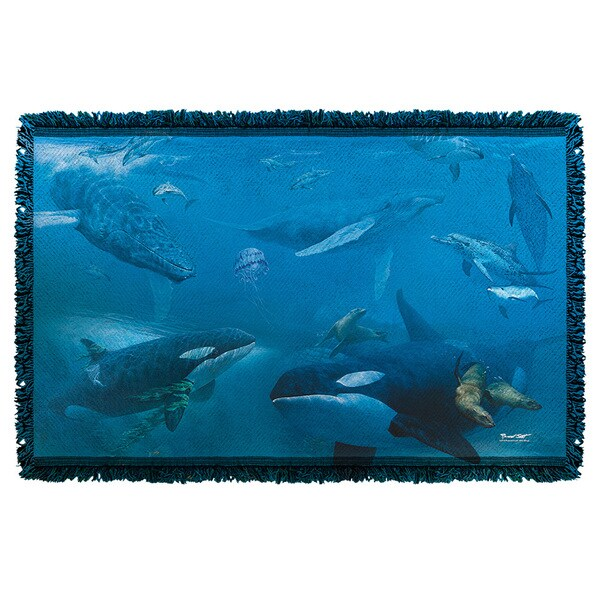 Wild Wings/Whales 2 Graphic Woven Throw