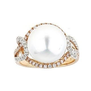 Anika and August 18K Two-tone Gold South Sea Pearl and Natural Pink Diamond Ring