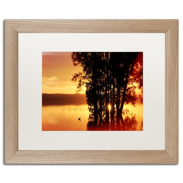 Beata Czyzowska Young 'Alone at Sunset' Matted Framed Art