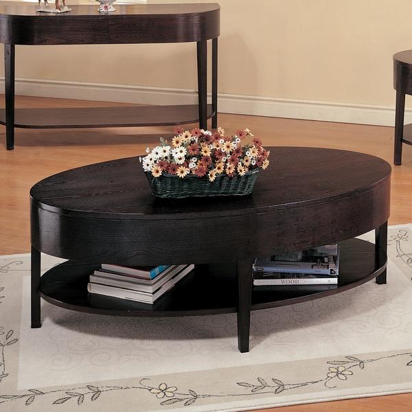 Furinno Jaya Oval Coffee Table: Coaster Company Cappuccino Round Coffee Table