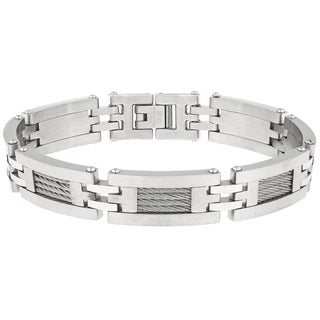 Stainless Steel Bracelet with Cable Inlay