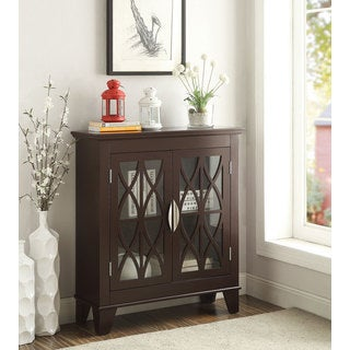 Wood and Glass Two-door Accent Cabinet