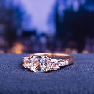Miadora 10k Rose Gold Created White Sapphire and Diamond Accent 3-Stone Engagement Ring