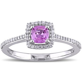 Miadora Signature Collection 14k White Gold Pink Sapphire and 1/6 ct TDW Diamond Square Halo Engagement Ring (G-H, SI1-SI2)