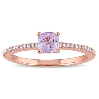 Miadora Signature Collection 14k Rose Gold 1/10ct TDW Diamond and Light Pink Sapphire Solitaire Engagement Ring (G-H, SI1-SI2)