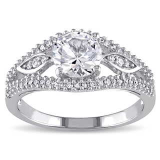 Miadora 10k White Gold 1/4ct TDW Diamond and Created White Sapphire Beaded Split Shank Engagement Ri