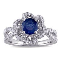 Miadora Signature Collection 14k White Gold 3/8ct TDW Diamond and Sapphire Engagement Ring