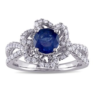 Miadora Signature Collection 14k White Gold 3/8ct TDW Diamond and Sapphire Engagement Ring - Blue