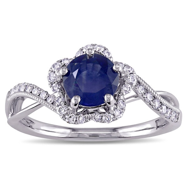 Miadora Signature Collection 14k White Gold Sapphire and 1/4ct TDW Diamond Flower Engagement Ring