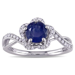 Miadora Signature Collection 14k White Gold Sapphire and 1/4ct TDW Diamond Flower Engagement Ring (G