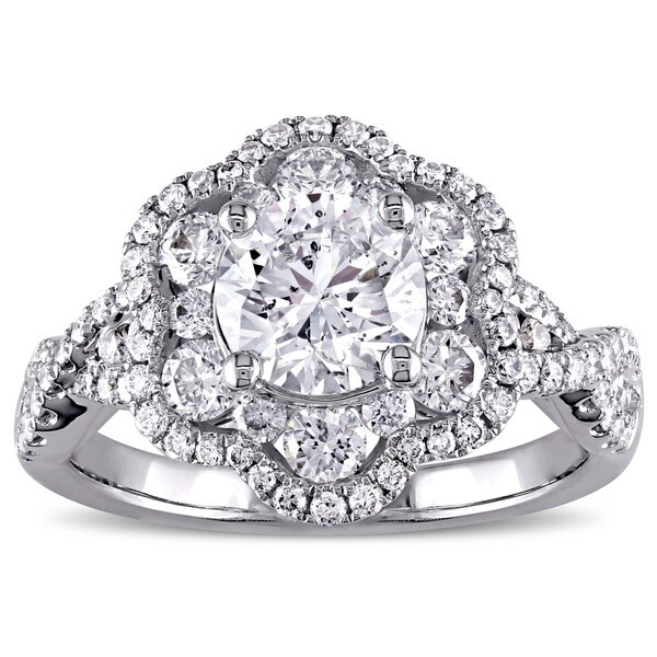 Miadora Signature Collection 14k White Gold 1 7/8ct TDW Diamond Flower Engagement Ring