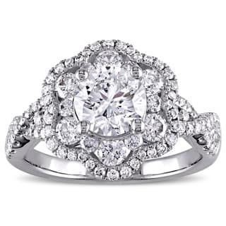 Miadora Signature Collection 14k White Gold 1 7/8ct TDW Diamond Flower Engagement Ring|https://ak1.ostkcdn.com/images/products/12241985/P19085261.jpg?impolicy=medium