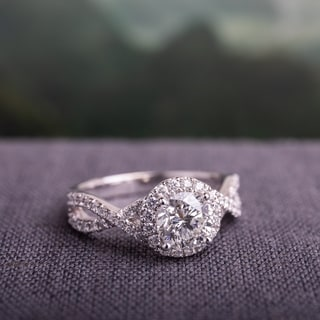 Miadora Signature Collection 14k White Gold 1 3/8ct TDW Diamond Crossover Infinity Engagement Ring