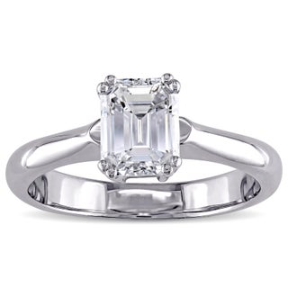 Miadora Signature Collection 14k White Gold 1 5/8ct TDW Certified Emerald Cut Diamond Solitaire Engagement Ring (D, VS1) (GIA) (More options available)