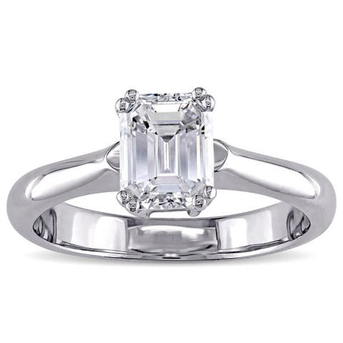 Miadora Signature Collection 14k White Gold 1 5/8ct TDW Certified Emerald Cut Diamond Solitaire Engagement Ring (D, VS1) (GIA)