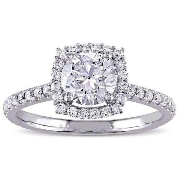 Miadora Signature Collection 14k White Gold 1 1/2ct TDW Diamond Halo Engagement Ring
